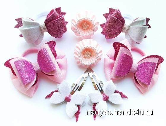 Купить Набор розового цвета 2, Украшения ручной работы. Мастер Надежда Семенова (NadyaS) . бантики