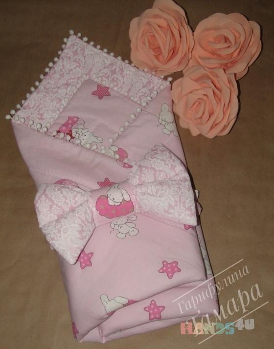 Купить Конверт-одеяло на выписку Зайка, Комплекты на выписку, Для новорожденных, Работы для детей ручной работы. Мастер Тамара Гарифулина (TamaraGar) . детское одеяло