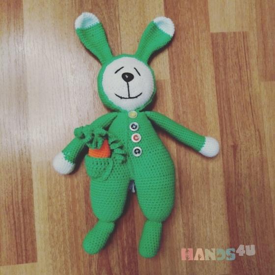 Купить Заяц-сплюшка , Зайцы, Зверята, Куклы и игрушки ручной работы. Мастер Марина Мандрик (Mamaarseniya) . заяц вязаный