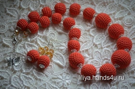 Купить Апельсиновый комплект, Вязаные, Комплекты украшений, Украшения ручной работы. Мастер Лилия Лилия (Liliya) .