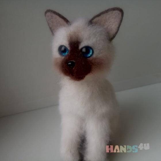 Купить Сиамский котёнок, Коты, Зверята, Куклы и игрушки ручной работы. Мастер Наталья Ветрова (NataliToys) . валяние сухое