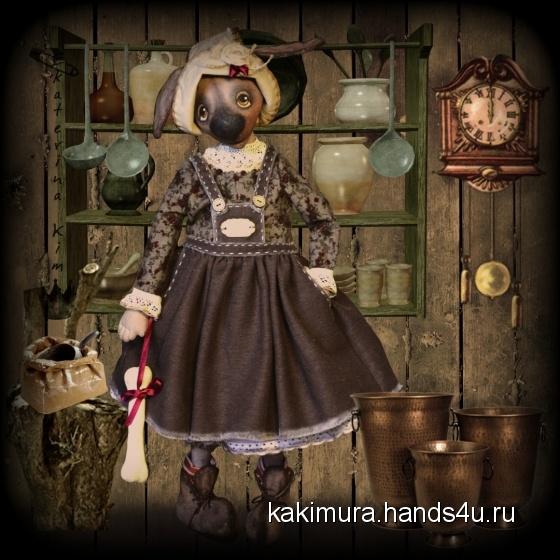 Купить Пёсика Ава, Текстильные, Коллекционные куклы, Куклы и игрушки ручной работы. Мастер Екатерина Ким (Kakimura) .