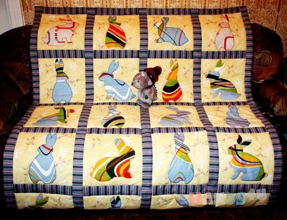 Купить Лоскутное одеяло Зайки на полянке, Лоскутные, Пледы и покрывала, Текстиль, ковры, Для дома и интерьера ручной работы. Мастер Фаина Гаврилова (gavr57faina) . лоскутное одеяло