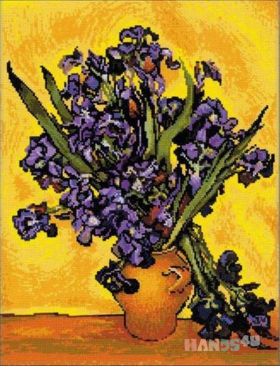 Купить Картина вышита в ручную Ирисы, Репродукции, Картины и панно ручной работы. Мастер Юлианна  (Yulianna3) . авторская вышивка
