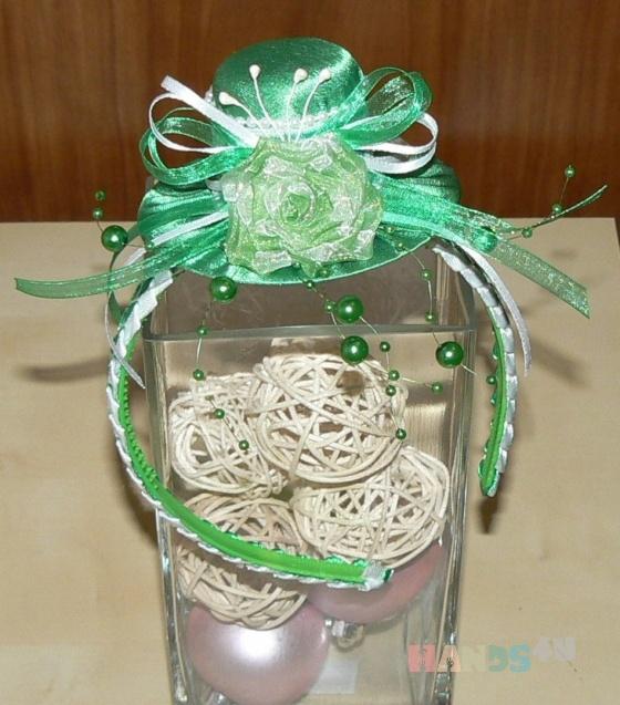 Купить Шляпка украшение для волос из креп-сатина Green, Текстильные, Заколки, Украшения ручной работы. Мастер Милена Морозова (Milena) . авторская заколка для волос
