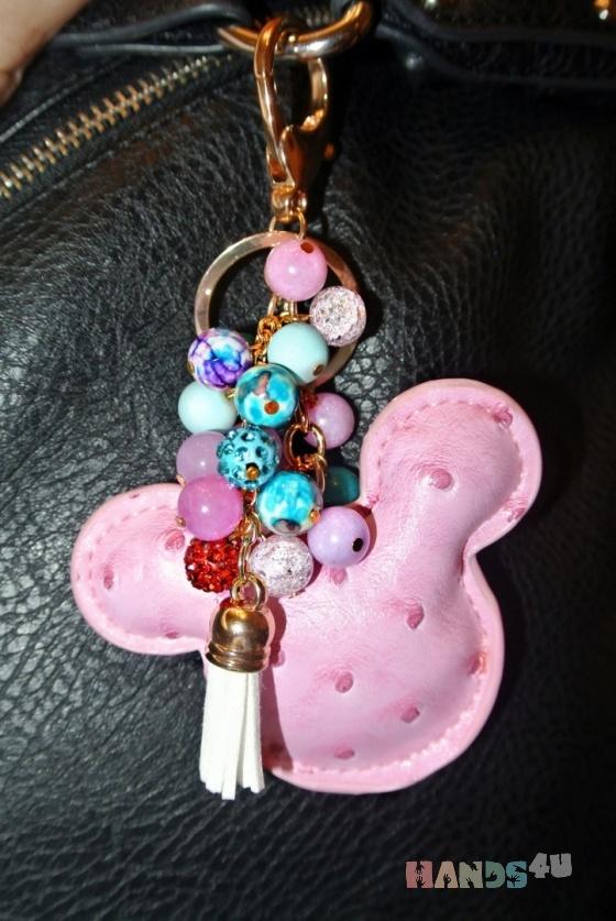 Купить Брелок Mickey Mouse из натуральных камней, Брелоки, Аксессуары ручной работы. Мастер Илона  (DreamAngels) . искусственная кожа