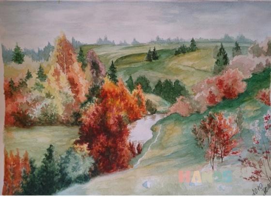 Купить Осень акварелью, Пейзаж, Картины и панно ручной работы. Мастер Татьяна Солодова (sweetwood) .
