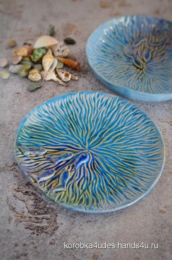 Купить тарелка море, Тарелки, Посуда ручной работы. Мастер  korobka4udes (korobka4udes) . керамика