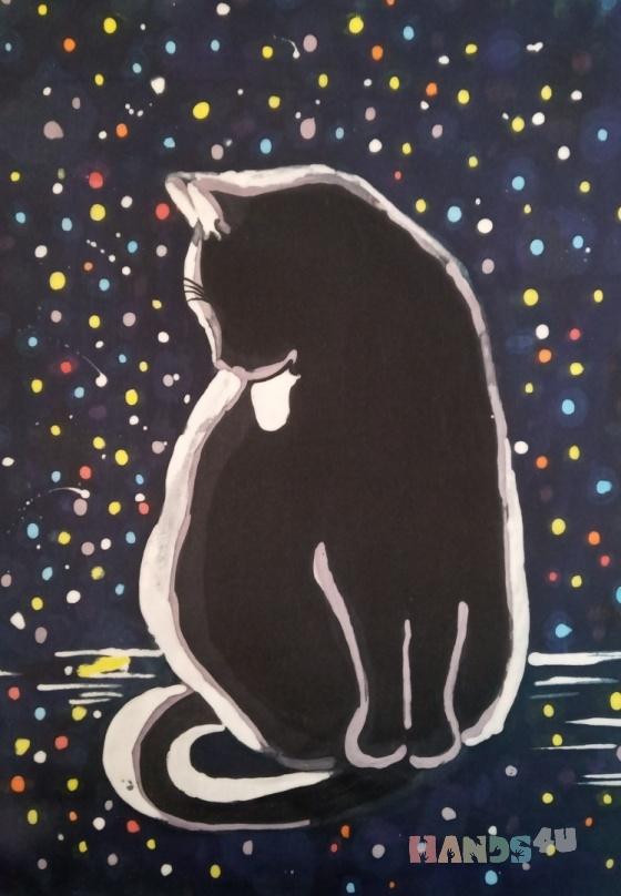 Купить Кошка и ночь, Животные, Картины и панно ручной работы. Мастер Маргарита М (tangomagnol) .