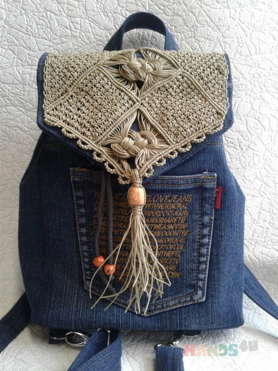 Купить рюкзак из джинсовой ткани и макраме, Рюкзаки, Сумки и аксессуары ручной работы. Мастер Ирина Макрушина (irina67) . женские сумки