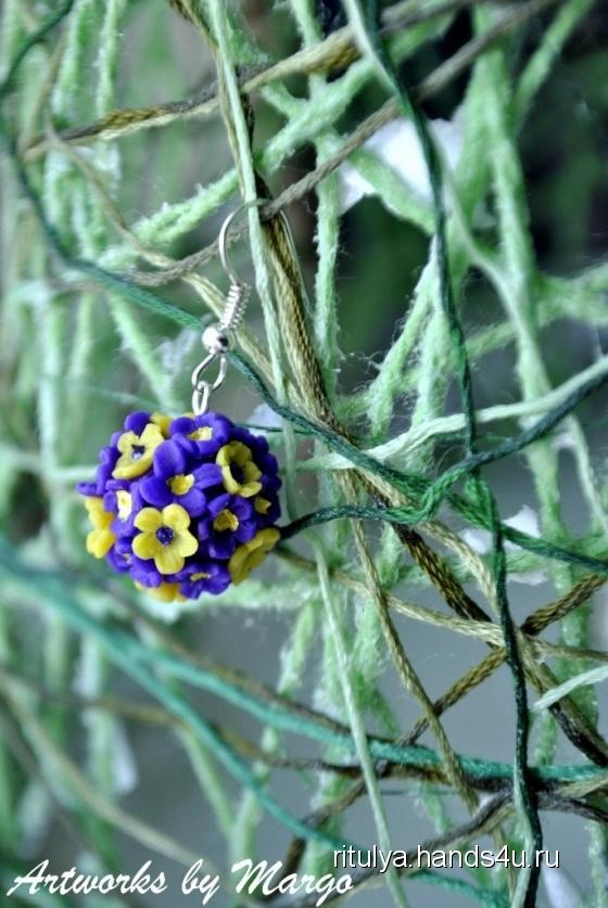 Купить цветочная радость, Полимерная глина, Серьги, Украшения ручной работы. Мастер Маргарита Закиева (Ritulya) .