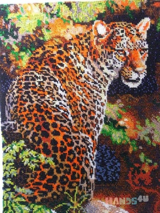 Купить Картина вышитая бисером Леопард, Животные, Картины и панно ручной работы. Мастер Валентина Большакова (valenkreatif) . вышитая картина