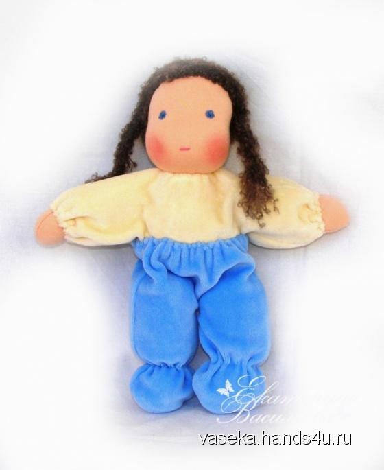 Купить Вальдорфская куколка Кнопочка в голубом, Вальдорфская игрушка, Куклы и игрушки ручной работы. Мастер Екатерина Васильева (vaseka) .