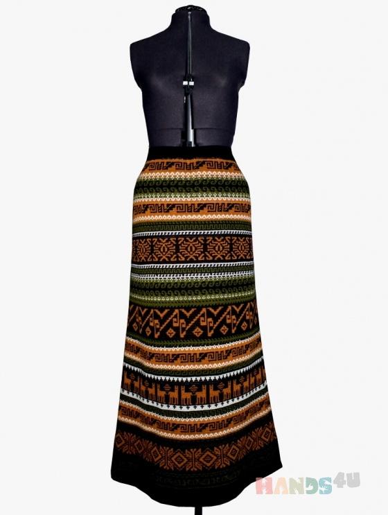 Купить юбка-перуанка макси коричневая с оранжевым, Вязаные, Юбки, Одежда ручной работы. Мастер Наталья Тихонова (natati) .
