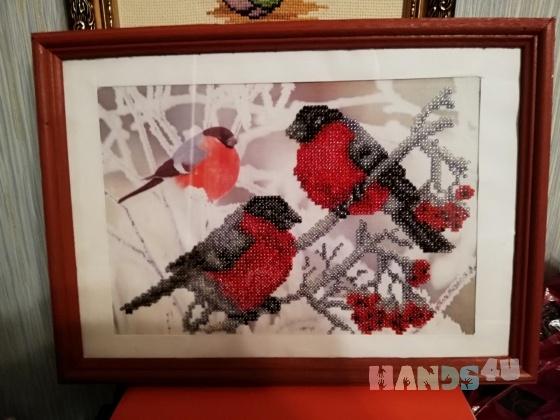Купить Картина из бисера Снегири, Животные, Картины и панно ручной работы. Мастер Юлия Клява (kljaksa) .