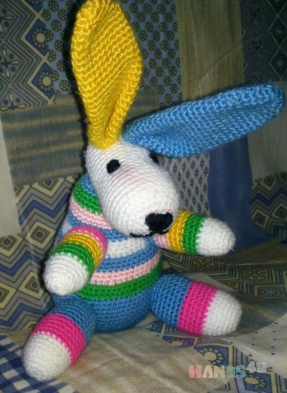 Купить Радужный зайчик, Зайцы, Зверята, Куклы и игрушки ручной работы. Мастер Светлана Згурская (Lanagold1978) .