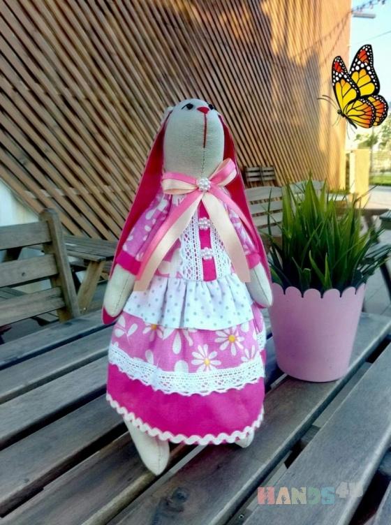 Купить ЗАЙКА В РОЗОВОМ, Куклы Тильды, Куклы и игрушки ручной работы. Мастер ЮЛИЯ ПЕРВУШИНА (YULIYAP) . заяц