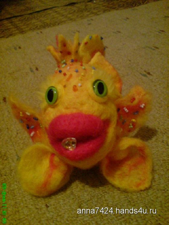 Купить Золотая рыбка, Русские сказки, Сказочные персонажи, Куклы и игрушки ручной работы. Мастер аннушка сергеева (anna7424) . валяная игрушка