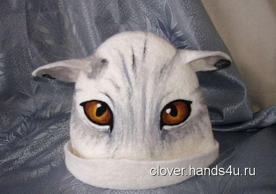 Купить Шапка для бани Кошка, Банные принадлежности, Для дома и интерьера ручной работы. Мастер Анна  (Clover) . шапка для бани