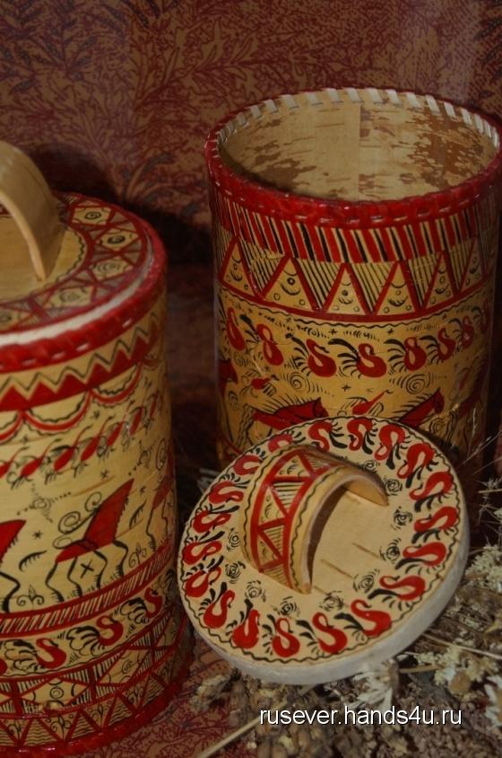 Купить Берестяной туес с мезенской росписью, Посуда, Русский стиль ручной работы. Мастер Татьяна Гринчук (rusever) .