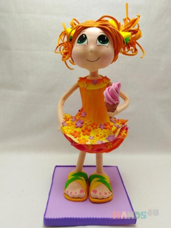 Купить Девочка с мороженным, Смешанная техника, Коллекционные куклы, Куклы и игрушки ручной работы. Мастер Олеся Прощенко (Olesya2019) . 8 марта подарок