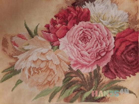 Купить Картина вышитая в ручную Пионы, Картины цветов, Картины и панно ручной работы. Мастер Юлианна  (Yulianna3) . авторская вышивка