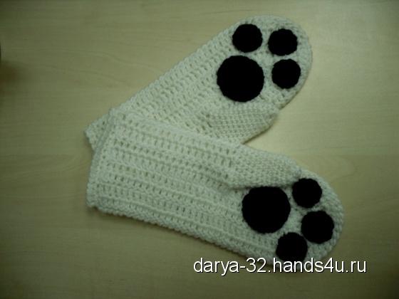 Купить Варежки Панда, Шарфы, шарфики и снуды, Аксессуары ручной работы. Мастер Дарья Амплеева (Darya-32) . варежки