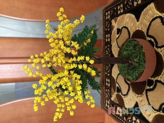 Купить Яркое дерево мимозы из бисера, Элементы интерьера, Для дома и интерьера ручной работы. Мастер Ирина Долгополова (Biserok) . аксессуар из бисера