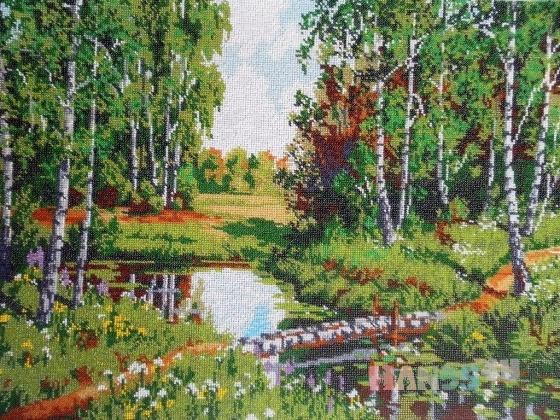 Купить Картина вышитая бисером В краю березовом, Пейзаж, Картины и панно ручной работы. Мастер Валентина Большакова (valenkreatif) . вышитая картина