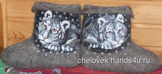 Купить Валенки  Тигрята, Зимняя обувь, Обувь ручной работы. Мастер Татиана Волошина (chelovek) . ручная роспись по ткани