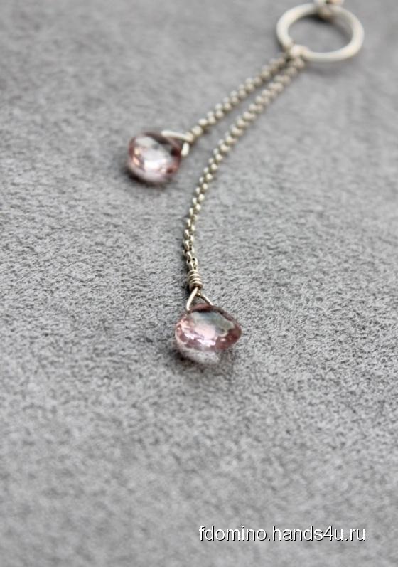 Купить Кулон с розовым топазом, Полудрагоценные камни, Камни и жемчуг, Кулоны, подвески, Украшения ручной работы. Мастер Алена  (FDomino) . женский подарок
