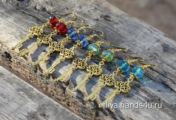 Купить Серьги-ключики золотые, Серьги, Украшения ручной работы. Мастер Лилия Лилия (Liliya) .
