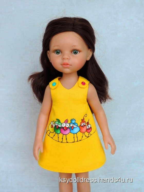 Купить Льняное платье с ручной росписью Птички на проводе для куклы Paola Reina 33 см, Одежда для кукол, Куклы и игрушки ручной работы. Мастер Оксана Алексеева (Ksydolldress) . авторское платье