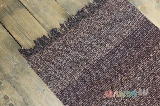 Купить вязаный коврик коричневый с бахромой, Ковры, Текстиль, ковры, Для дома и интерьера ручной работы. Мастер Татьяна Белкина (Povyazyshka) . вязаный коврик