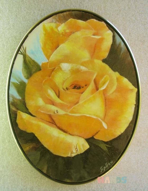 Купить Жёлтые розы, Картины цветов, Картины и панно ручной работы. Мастер  Арутюнян (harben) . овальная картина