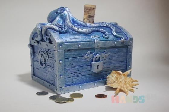 Купить копилка для денег Пиратский сундук голубая, Копилки, Сувениры и подарки ручной работы. Мастер юрий кулешов (ykuleshov61) .