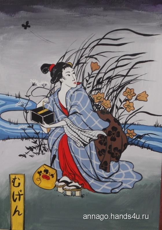 Купить Картинка в японском стиле Ловля бабочек, Гуашь, Этно, Картины и панно ручной работы. Мастер Анна Горбовская (AnnaGo) . картина для интерьера