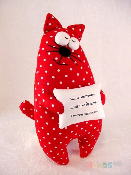 Купить Кот с подушкой, Коты, Зверята, Куклы и игрушки ручной работы. Мастер   (Polli-Co) .