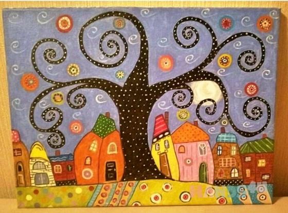 Купить Картина на холсте Ночь в сказочном городке, Фэнтези, Картины и панно ручной работы. Мастер Ирина Евтушенко (0407-1975) . акрил