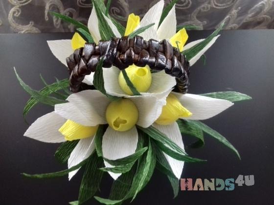 Купить Подснежники с конфетками в корзинке, Букеты из конфет, Букеты, Цветы и флористика ручной работы. Мастер Светлана Хрущёва (SvetaKN78) . весенние цветы
