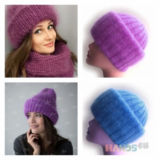 вязаная шапка из мохера Id 14350 шапки головные уборы аксессуары