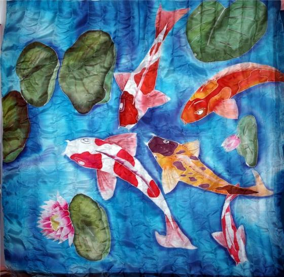 Купить шелковый платок Рыбы, Платки, Шали, палантины, Аксессуары ручной работы. Мастер   (Kiira) . шелк