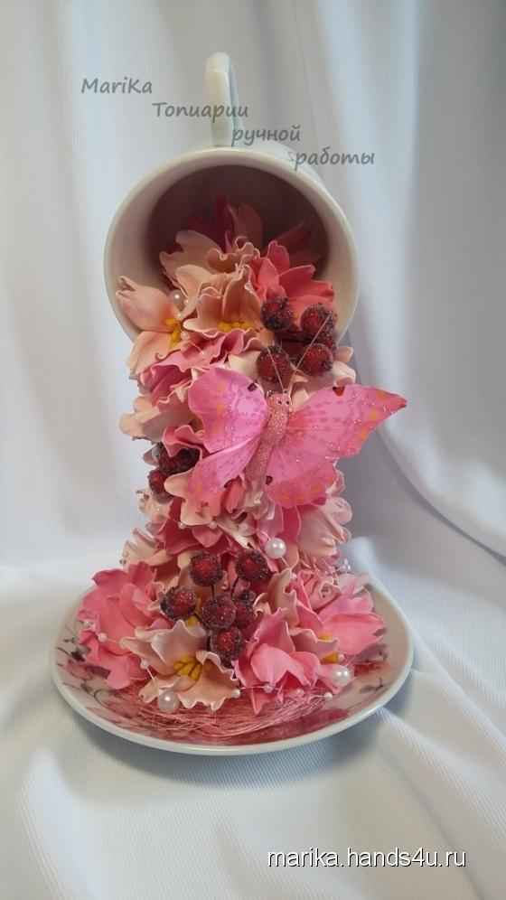 Купить Парящая чашка, Смешанная техника, Интерьерные композиции, Цветы и флористика ручной работы. Мастер Мария Коровина (MariKa) . парящая чашка