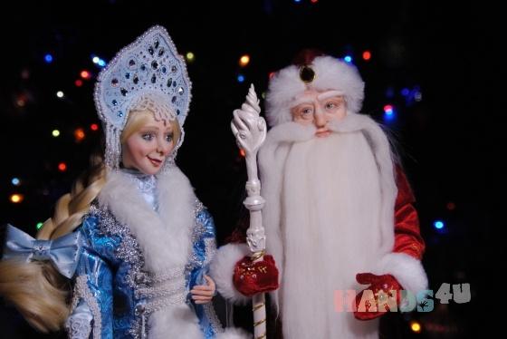 Купить Авторские куклы Дед Мороз и Снегурочка, Смешанная техника, Коллекционные куклы, Куклы и игрушки ручной работы. Мастер Елена Коноплина (Dizart) . авторская кукла