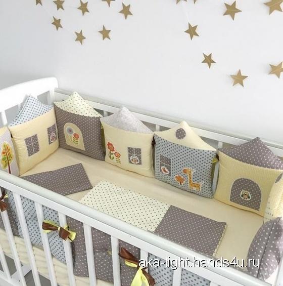 Купить бортики в кроватку, Для новорожденных, Работы для детей ручной работы. Мастер Екатерина Суховерхова (aka-light) . наполнитель холофайбер