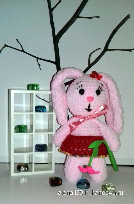 Купить Плюшевая зайка, Зайцы, Зверята, Куклы и игрушки ручной работы. Мастер Елена  (alenali2011) . вязаный зайка
