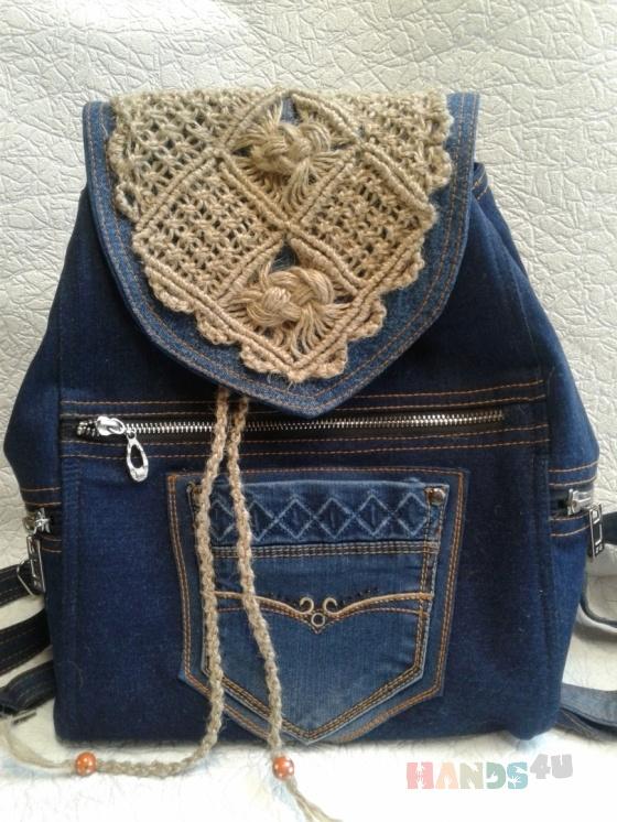 Купить рюкзак из джинсовой ткани и макраме с карманами, Рюкзаки, Сумки и аксессуары ручной работы. Мастер Ирина Макрушина (irina67) . джинсовый стиль