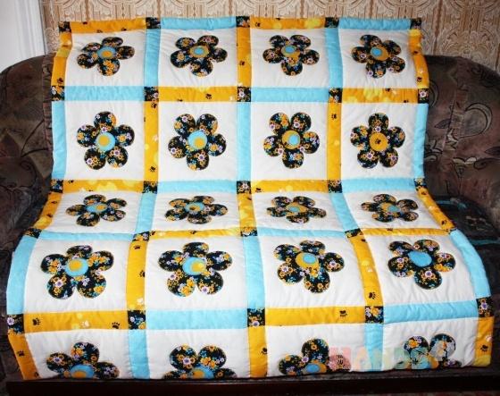Купить Лоскутное одеяло Ромашка, Лоскутные, Пледы и покрывала, Текстиль, ковры, Для дома и интерьера ручной работы. Мастер Фаина Гаврилова (gavr57faina) . лоскутное одеяло