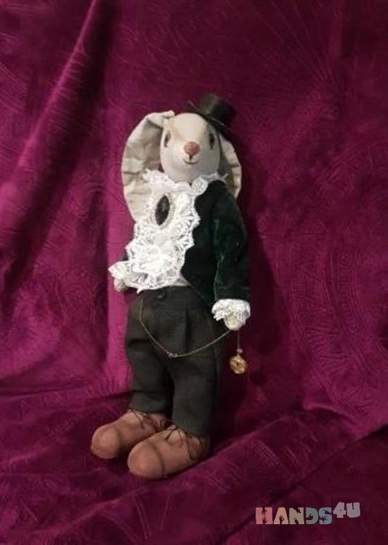Купить Интерьерная текстильная игрушка заяц Джон, Текстильные, Коллекционные куклы, Куклы и игрушки ручной работы. Мастер Марина Непомнящая (MarinaNep) . интерьерная текстильная игрушка