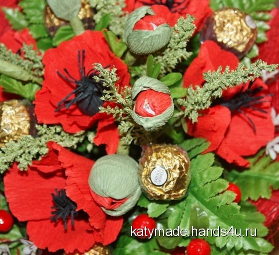 Купить Маков цвет   букет из конфет, Букеты из конфет, Букеты, Цветы и флористика ручной работы. Мастер Екатерина Кулабухова (Katymade) . шоколадные конфеты